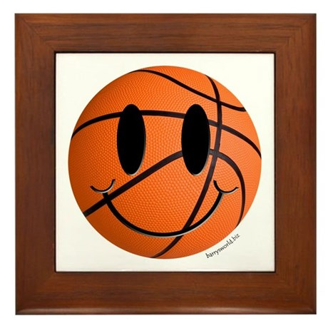 Basketball Smiley Framed Tile