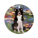 Lilies & Border Collie Ornament (Round)