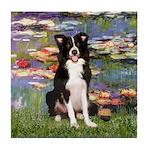 Lilies & Border Collie Tile Coaster