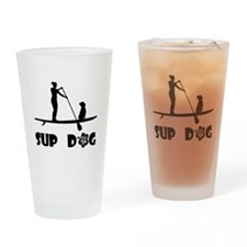 SUP Dog Sitting Drinking Glass