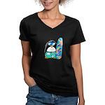 Surfing Penguin Women's V-Neck Dark T-Shirt