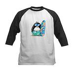 Surfing Penguin Kids Baseball Jersey