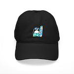 Surfing Penguin Black Cap