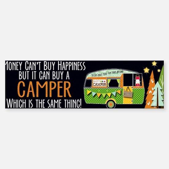 Camper Happiness Bumper Car Car Sticker