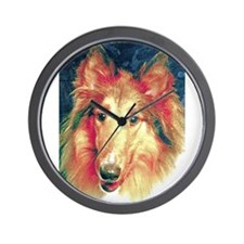 Painted sable collie Wall Clock