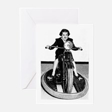 WOMAN ON CYCLE Greeting Cards (6)
