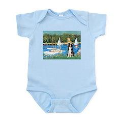 Sailboats & Border Collie Infant Bodysuit
