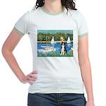 Sailboats & Border Collie Jr. Ringer T-Shirt