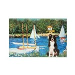 Sailboats & Border Collie Rectangle Magnet