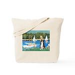 Sailboats & Border Collie Tote Bag