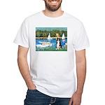 Sailboats & Border Collie White T-Shirt