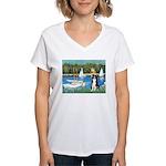 Sailboats & Border Collie Women's V-Neck T-Shirt