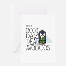 Its a Good Day to Eat Avocados Penguin Greeting Ca