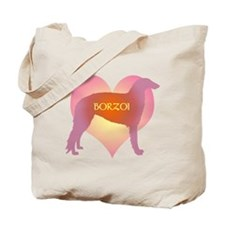 Borzoi Pink Heart Tote Bag