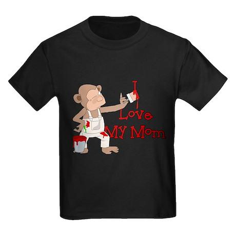 I Love My Mom Monkey Kids Dark T-Shirt