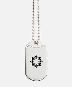 Black White Abstract Floral Crest Designer Dog Tag