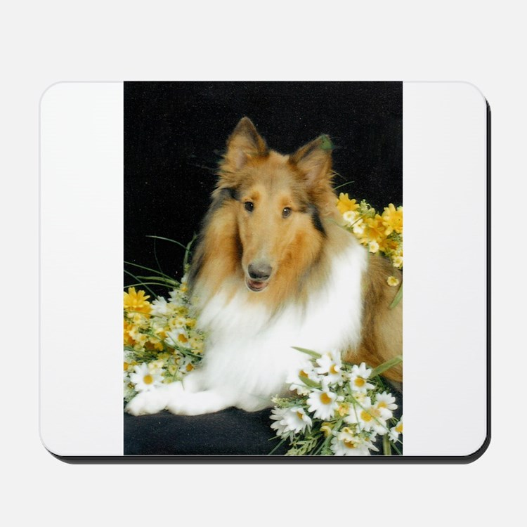 Collie Flowers Mousepad