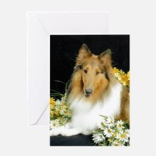 Collie Flowers Greeting Cards