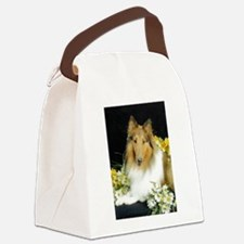 Collie Flowers Canvas Lunch Bag