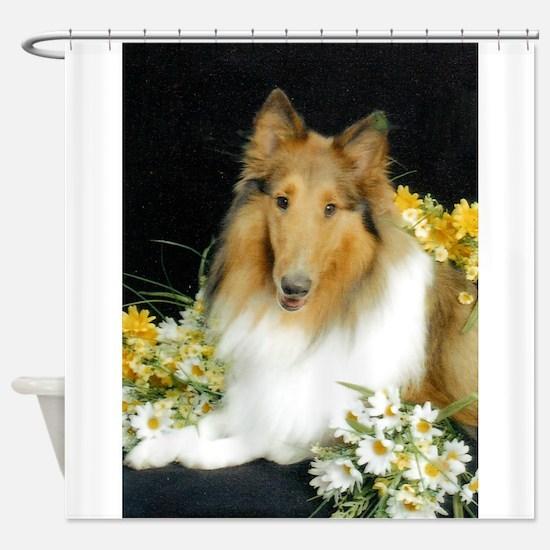 Collie Flowers Shower Curtain