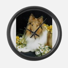 Collie Flowers Large Wall Clock