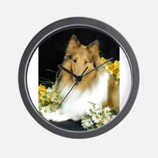 Collie Flowers Wall Clock