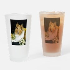 Collie Flowers Drinking Glass