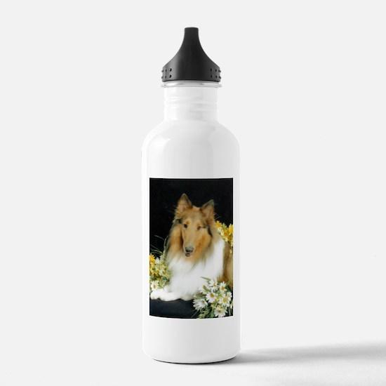 Collie Flowers Water Bottle