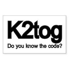 K2tog Knit Together Rectangle Decal