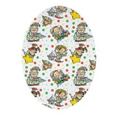 Christmas Elves Having Holiday Fun Ornament (Oval)