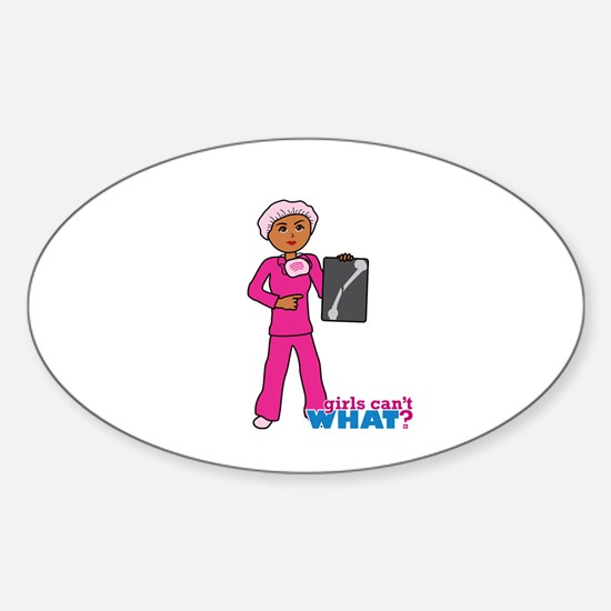 X-Ray Tech Dark Pink Scrubs Sticker (Oval)