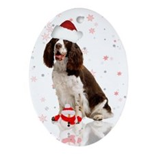 Christmas Spaniel Dog In Santa Hat Ornament (Oval)