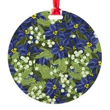 Blue Poinsettia Winter Ornament