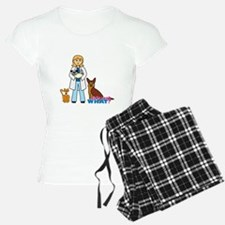 Woman Veterinarian Blonde Hair Pajamas