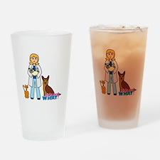 Woman Veterinarian Blonde Hair Drinking Glass