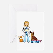 Woman Veterinarian Blonde Hair Greeting Card
