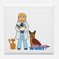 Woman Veterinarian Blonde Hair Tile Coaster
