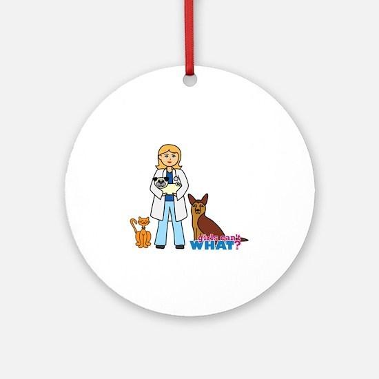 Woman Veterinarian Blonde Hair Ornament (Round)