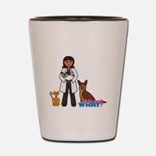 Woman Veterinarian Dark Brown Hair Shot Glass