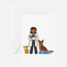 Woman Veterinarian Dark Brown Hair Greeting Card