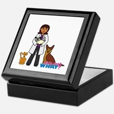Woman Veterinarian Dark Brown Hair Keepsake Box