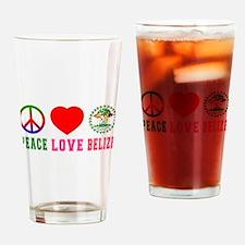 Peace Love Belize Drinking Glass