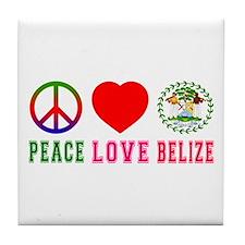 Peace Love Belize Tile Coaster