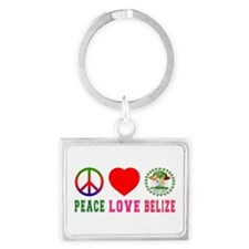 Peace Love Belize Landscape Keychain