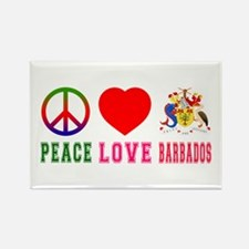Peace Love Barbados Rectangle Magnet