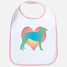 borzoi multicolor heart Bib