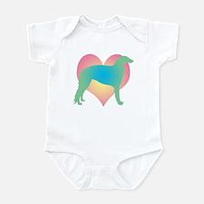 borzoi multicolor heart Infant Bodysuit