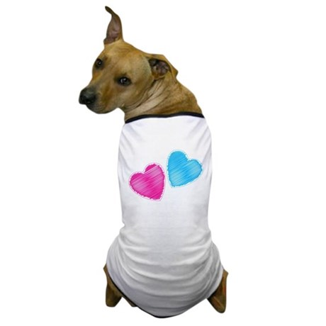 Two hearts blue and pink Dog T-Shirt