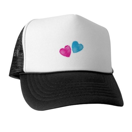 Two hearts blue and pink Hat