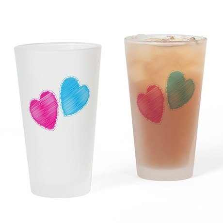 Two hearts blue and pink Drinking Glass
